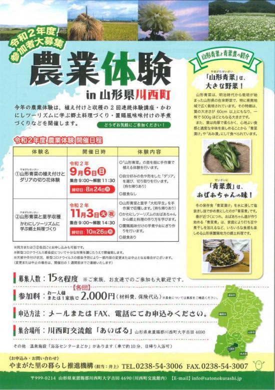 2020/08/07 09:27/農業体験in川西町【若干名空きありのため、追加募集します】